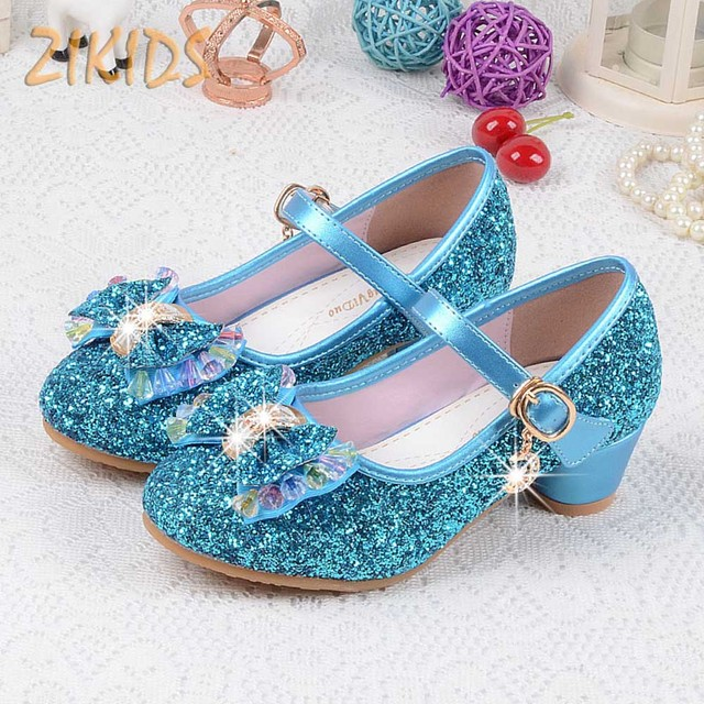 Crystal Cartoon Image Snow Fairy Girls Shoes Princess Bow Glitter Baby Girl Shoes Leather High Heels Girls Dress Shoes for party