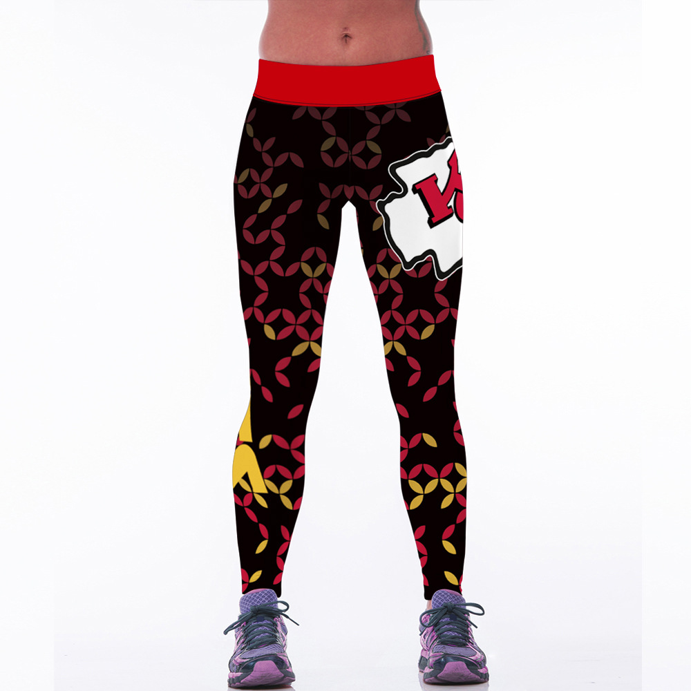 New 127 Sexy Girl Jogging Leggings Comics USA football rugby KC team Prints High Waist Running Fitness Sport Women Yoga Pants leggings