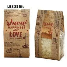 Saco de papel de pão lb103life, saco de papel para assar com janela, sem óleo, feito à mão sacos de sacos