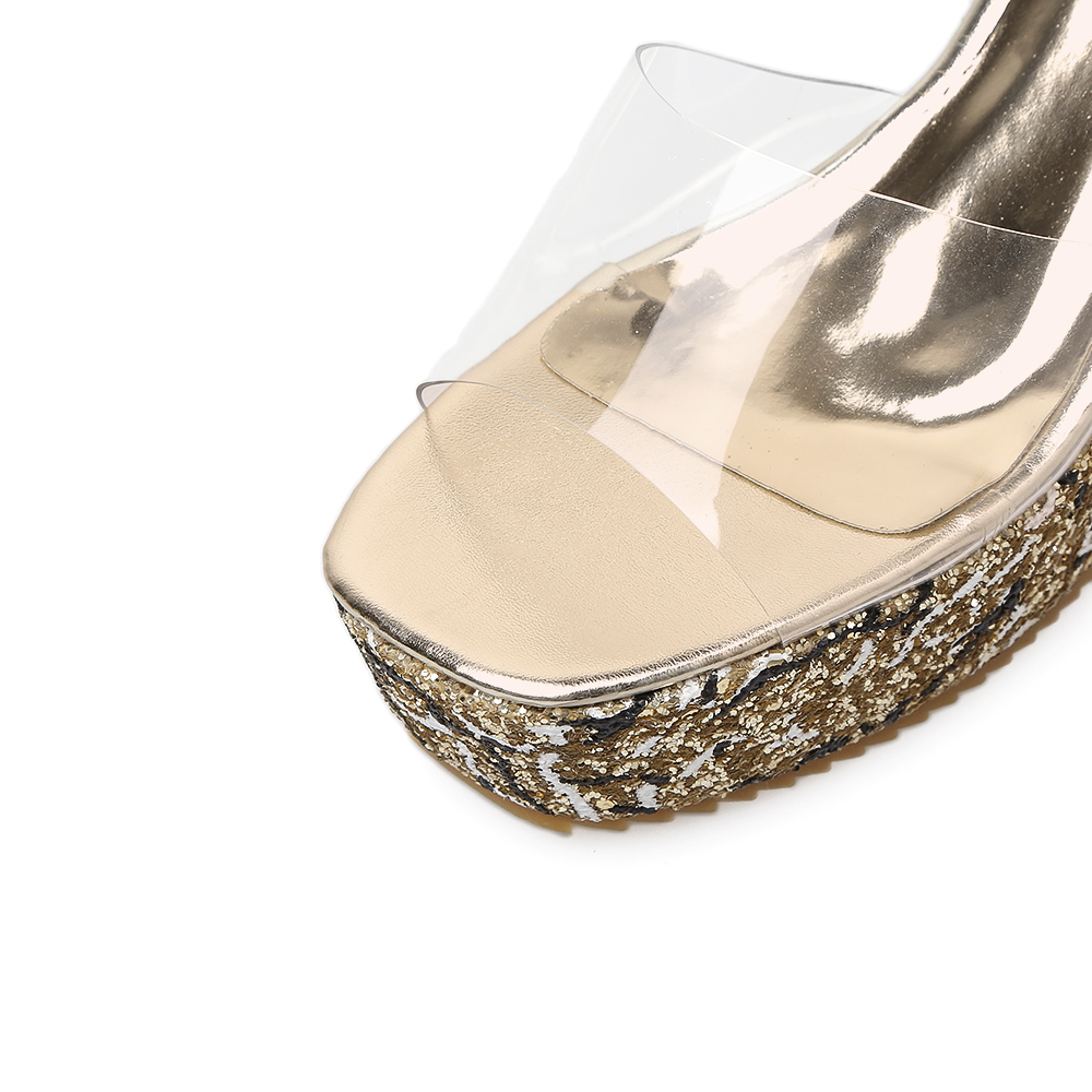 Sequined Zapatos Abierta De Brillante Platfrom Pvc silver 2018 Zapatillas Punta Cuña Aiykazysdl Altos Tacones Mujeres Verano Transparentes black Sandalias Bling Gold PfwYqqX7x8