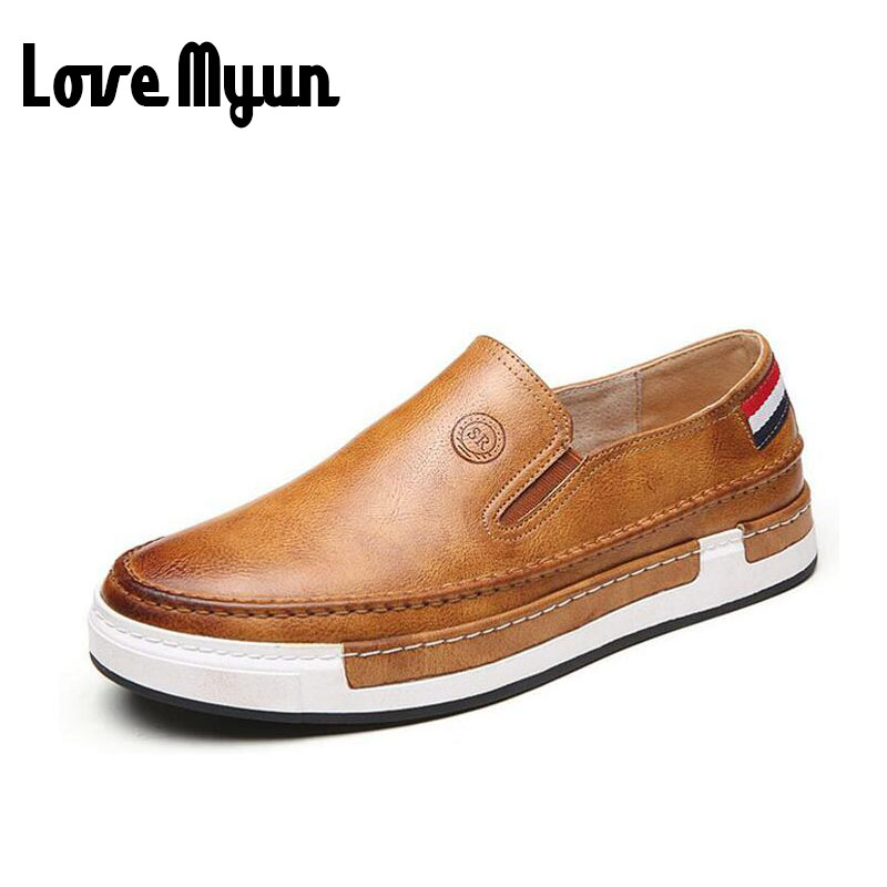 High quality thick soled Loafers Driving Shoes men leather Flat shoes casual slip on Men fashion