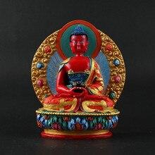 11.5cm Amitabha Resin Buddha Figurine, Bodhisattva Delicate Hand Plated Buddhist Tranic Tibetan Treasure Figure Statue