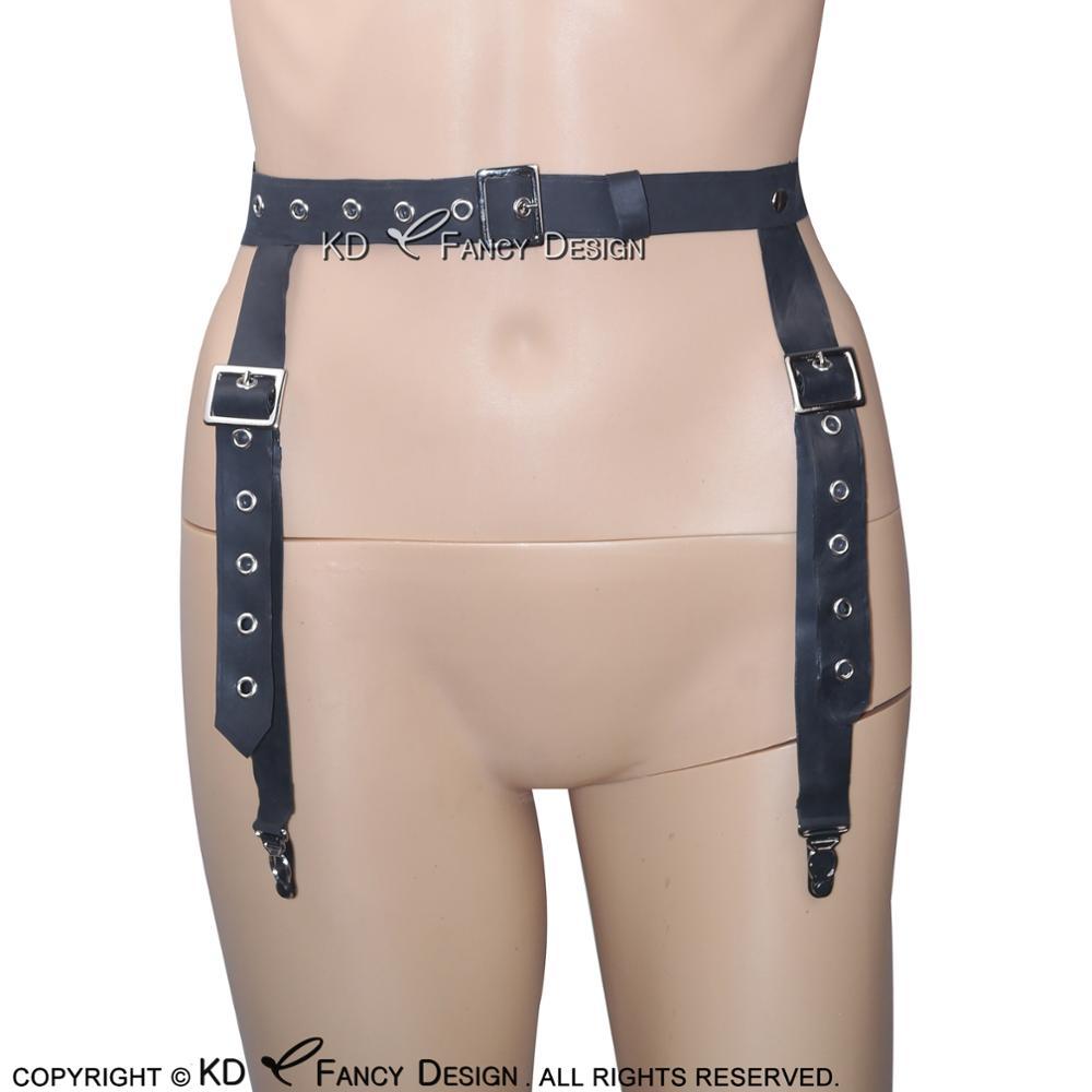 Black Sexy Latex Suspenders Rubber Garters SEX-0019