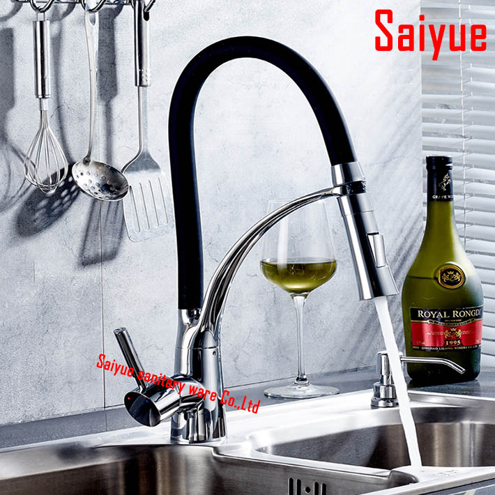 New arrival  brass polished chrome kitchen faucet swivel pull down spout kitchen sink tap mixer torneira cozinha candy color solid brass led swivel spout kitchen sink faucet pull out mixer tap chrome polished