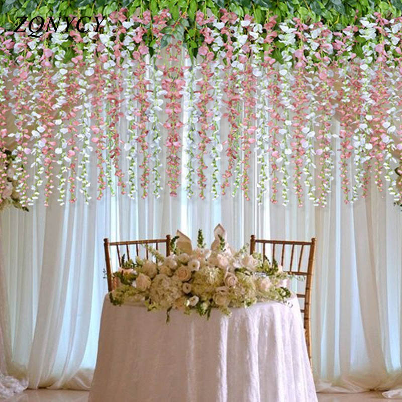 1m Artificial Flower Vine Orchids Flower String Handmade Hanging Garland Wedding Party Home Wall Diy Decoration Crafts Supplies