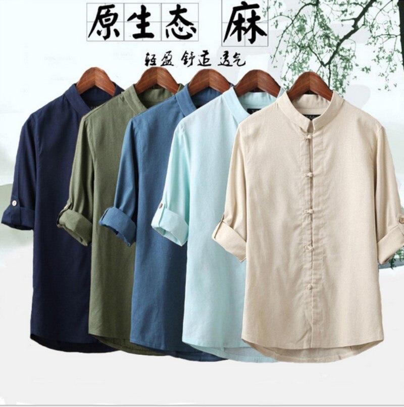 Men Casual Linen Shirt Frog Button Roll Up Sleeve 3/4 Sleeve Kung Fu Mandarin Collar Plus Size 5XL