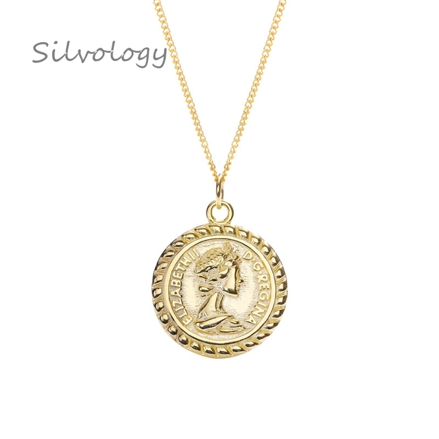 Silvology 925 Sterling Silver Round Figure Pendant Necklace Gold Vintage wild Coin Elegant Necklace For Women Fine Jewelry Gift