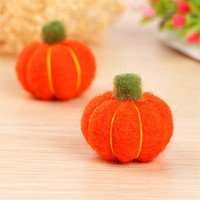 Newest Handmade 3D Cartoon Orange Pumpkin Wool Felt Craft Fit Girls hair Jewelry Elastic Headband Ornament Ornament Accessories