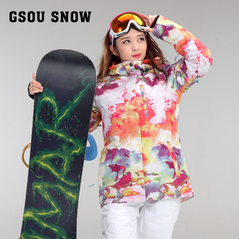 Women's white with printing ski jacket female windproof waterproof snow skiing outerwear riding climbing padded jacket
