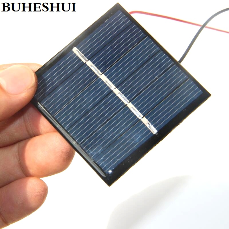 BUHESHUI 0.42W 3V Solar Cell With Wire/Cable Solar Panel Module DIY Solar Charger Education 54*54*3MM 10pcs/lot Free Shipping