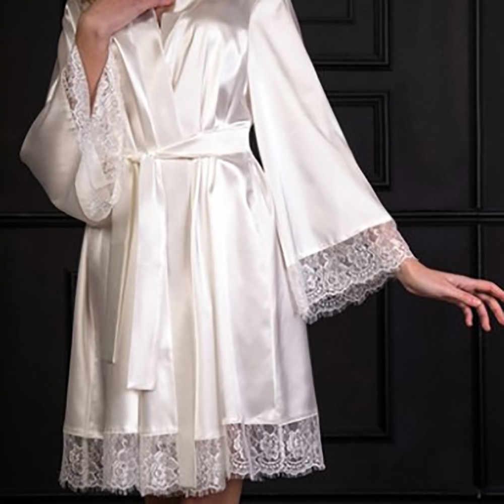 ファッブライダルパーティーローブランジェリーのレースの誘惑ベルト花嫁ローブ下着寝間着女性サテン着物パジャマスパローブ
