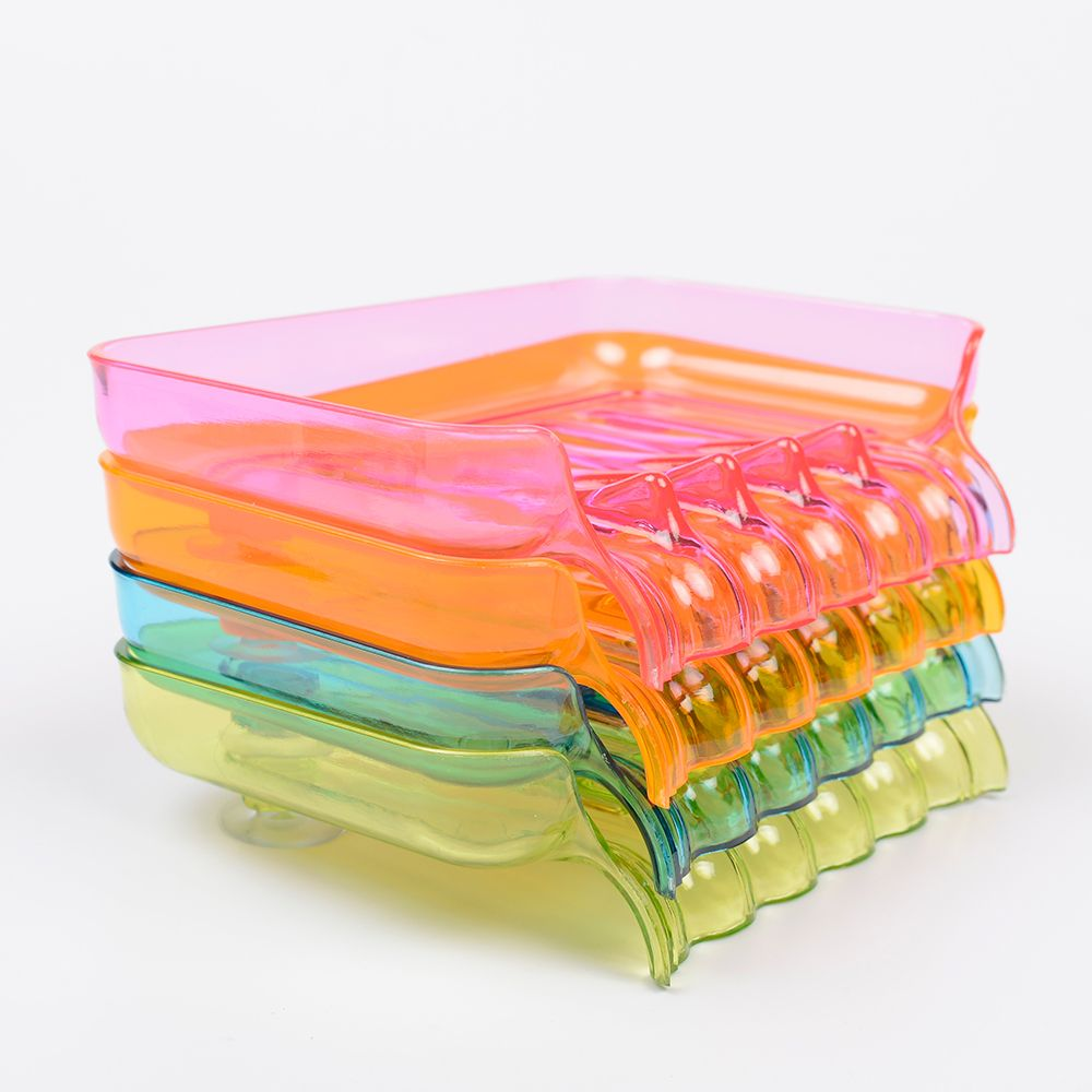 Colorful Soap Case Shower Soap Dish Bathroom Accessories Soap Box Tray Drain Holder Waterfall Shape Candy Color 1PCS
