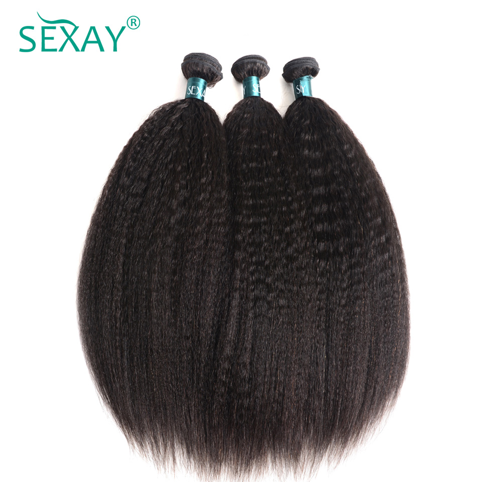 Kinky Straight Hair 3 Bundles Deals One Pack Human Hair Weave Bundles Natural Black Sexay Brazilian