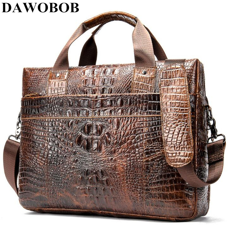 DAWOBOB Bag Men's Genuine Leather Briefcase Male Laptop Bag Crocodile Pattern Leather Men Messenger Bags Men's Briefcases 2019