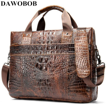 DAWOBOB Bag Men's Genuine Leather Briefcase Male Laptop Bag Crocodile Pattern Leather Men Messenger Bags Men's Briefcases 2019