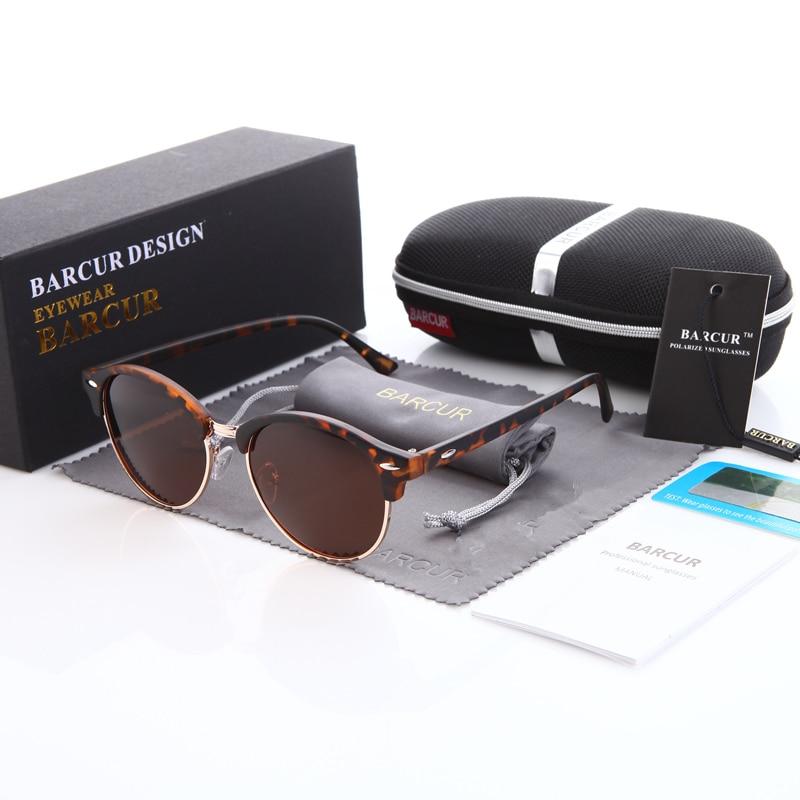 BARCUR Ретро круглі сонцезахисні окуляри Чоловіки Люкс бренд окуляри Leopard сонцезахисні окуляри UV400 сонцезахисні окуляри для жінок
