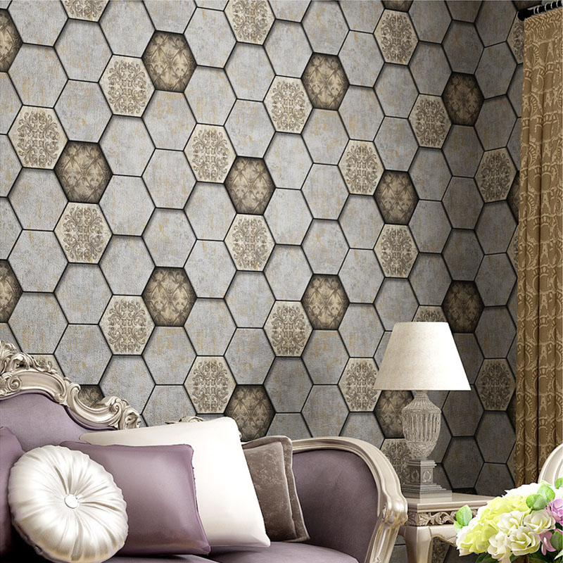Vintage Style Hexago Wallpapers Personalized 3D Wall Murals Vinyl Wallpaper PVC Waterproof Background Wall Paper Rol lfor Walls