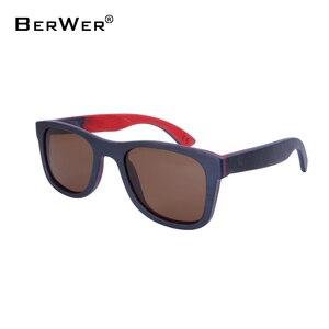 Image 1 - BerWer 2020 men wood Sunglasses New Polarized women black Skateboard Wood sunGlasses wooden Eyewear