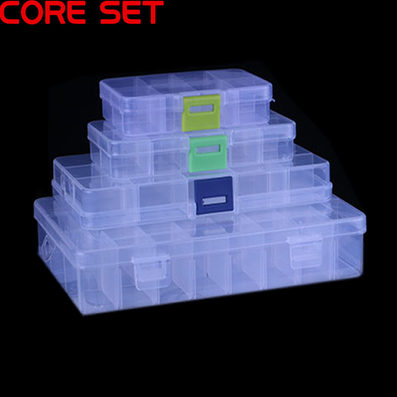 5/8/10/15/24 Grids Cells Portable Jewelry Tool Storage Box Container Ring Electronic Parts Screw Beads Organizer Plastic Case