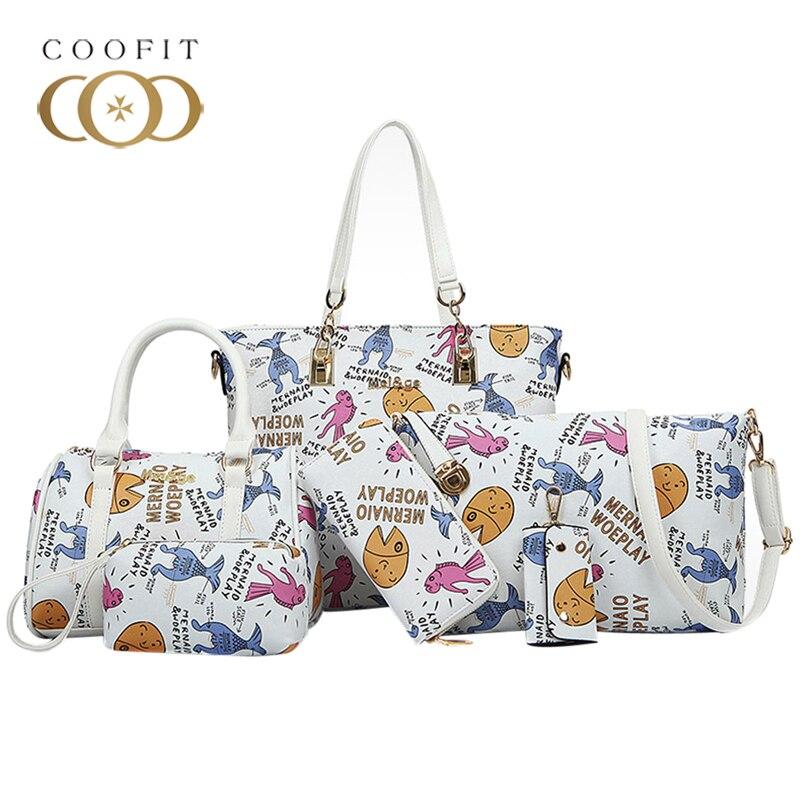 Coofit Women's Colorful Graffiti 6 Pcs Composite Bags Female Fashion Tote Bag Shoulder Bag Handbag Wristlet Clutch Wallet Set coofit luxury composite bag set women