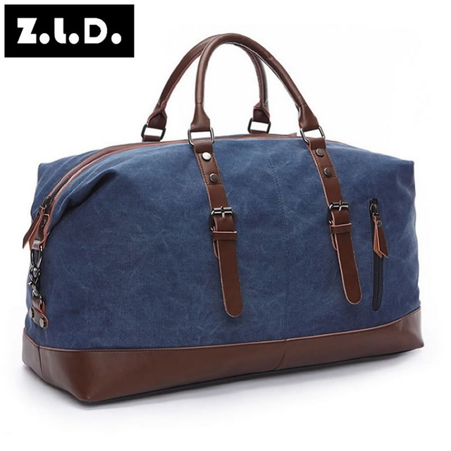 New ZUOLUNDUO Men Canvas Travel Bag High Capacity Handbag Leather Hand Duffel Bags Large Weekend Bags Overnight Carry On Luggage