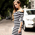 New Night Club dress Black White Slash Neck Short Sleeve Striped Off Shoulder Slim Dress vestidos femininos Hot Sales