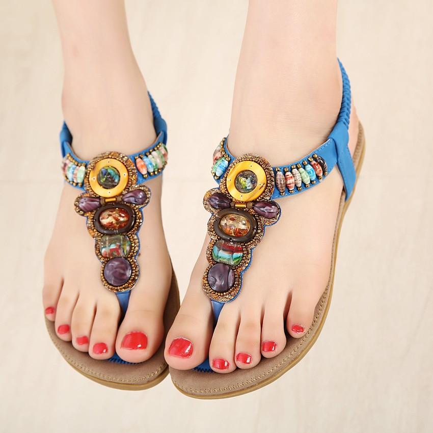 Image 5 - صندل نسائي من BEYARNE بمشبك بوهيمي مريح بإصبع القدم حذاء بوهو بشريط مطاطي للظهر حذاء شاطئ مسطح بمقاسات كبيرة 41الكعب المنخفضأحذية -