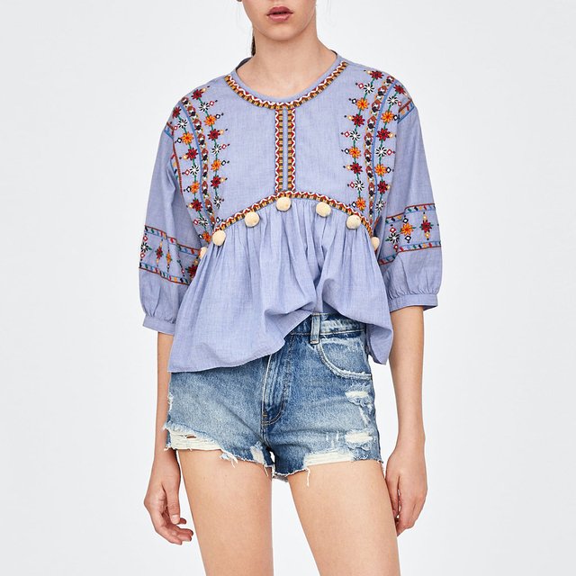 b2d121265dca99 Jastie 2018 Autumn Embroidered Top Loose Lantern Sleeve O-Neck Pullover Tops  Pompoms Boho Hippie Chic Women Shirt Blouse Blusas