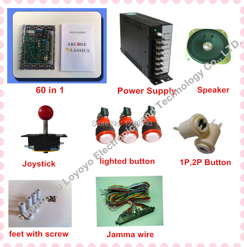 1set Arcade parts Bundles With 60 in 1PCB,16A Power Supply,L Joystick,Push button,Microswitch,Harness,Speaker for Arcade Machine arcade parts bundles kits with joystick push button microswitch coin door jamma harness to build up arcade machine by yourself