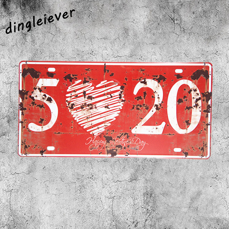 I love you number sign License plate vintage metal sign lover gift home decoration accessories ...