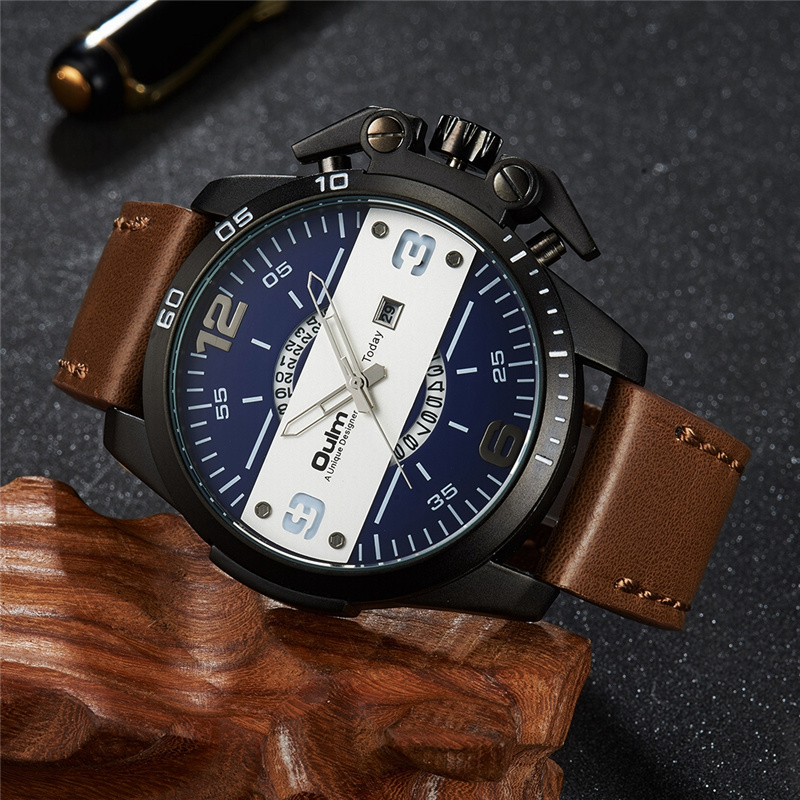 Oulm Luxury Brand Military Watch Male Fashion Casual Sports Watches Men PU Leather Big Quartz Wristwatch Unique Designer Clock onlyou men s watch women unique fashion leisure quartz watches band brown watch male clock ladies dress wristwatch black men
