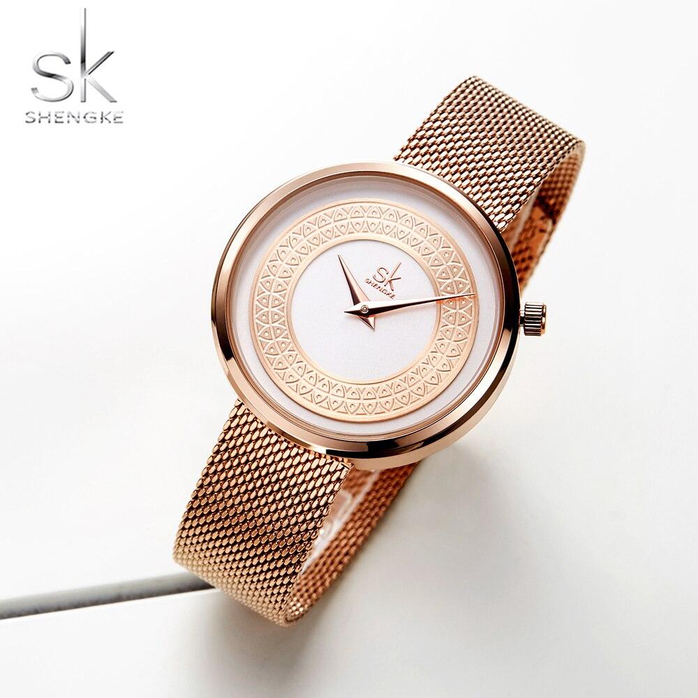 237a465fad2 Shengke Mulheres Relógios Das Mulheres Moda Relógio de Design Senhoras Relógio  Marca De Luxo Clássico do Metal do Ouro Do Vintage Fatia Zegarek Damski