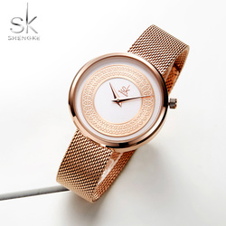 Shengke las mujeres relojes de moda de las mujeres reloj Vintage diseño reloj de marca de lujo clásica oro Metal Slice Zegarek Damski