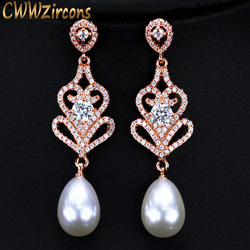 CWWZircons Rose Gold Color Long Pearl Drop Earrings for Women Vintage Ethnic 925 Sterling Silver Wedding Party Jewelry CZ316