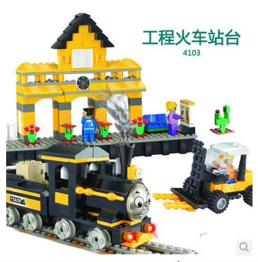 COGO 4103 Train Platform Car Forklift 443 pcs Building Block Sets Educational DIY Bricks Toys 100 pcs 149 pcs magic building block magnetic toys preschool skills educational game construction stacking sets block brick