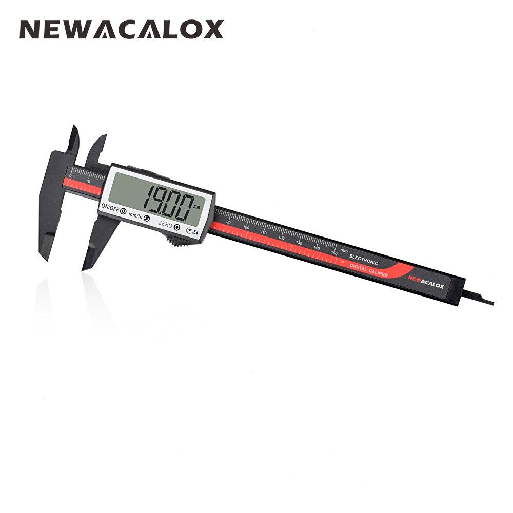 NEWACALOX Carbon Faser Touch Digitale Sattel Extra Große LCD Bildschirm Inch/Metric Umwandlung 0-6 Inch/150 mm Messung Werkzeug