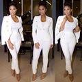 A forma Das Mulheres Vestuário Terno Branco do Revestimento do Revestimento & Calças Set 3091