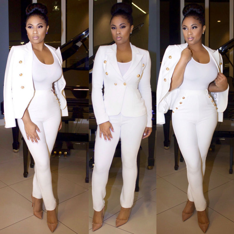 1c5915a42be Fashion Womens Clothing White Suit Jacket Coat   Trousers Set 3091-in  Women s Sets from Women s Clothing on Aliexpress.com