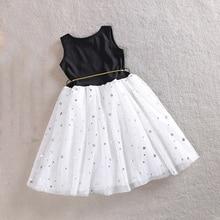 Girls Sequins Star Printed Dress with Belt