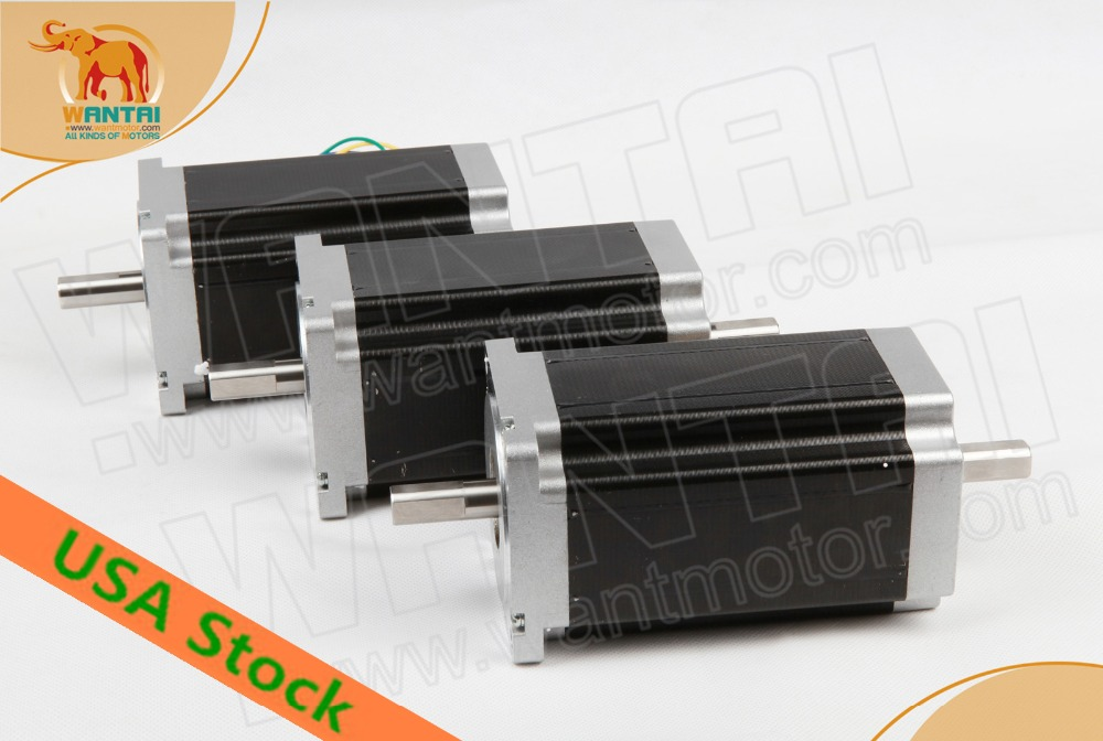 Ship From USA! Wantai 3PCS Nema34 Stepper Motor 85BYGH450C-012B Dual Shaft 1600oz-in 3.5A 4-Lead 2Phase Engraving Machine