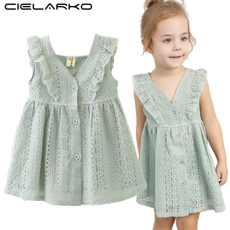 Cielarko Baby Girls Lace Dress Princess Toddler Dresses Soft 2017 Sleeveless Birthday Party Tutu Infant Clothes for 1-3 Years hurave 2018 baby girls clothes children sleeveless crew neck mesh tutu dresses causal striped cotton infant lace shirts dress