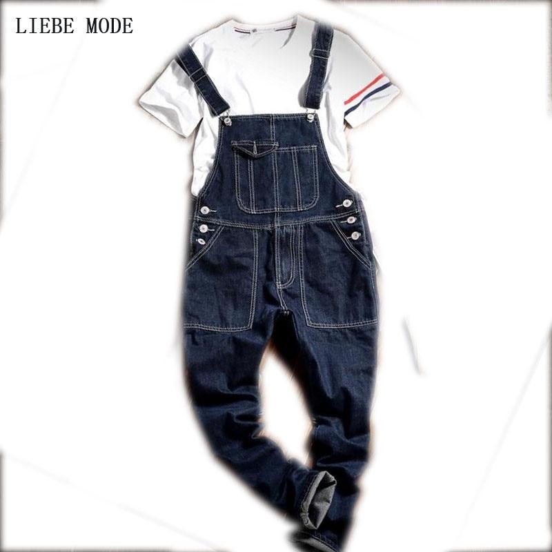 Czarne jeansowe kombinezony Męskie spodnie na szelkach Spaghetti - Odzież męska