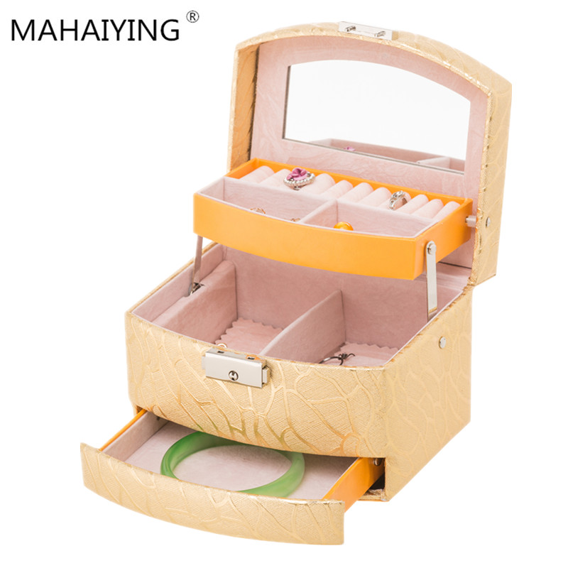Wholesale Fashion Jewelry Box With Lock Multi-layer Semi-automatic 2019 Luxury  Simple Gift