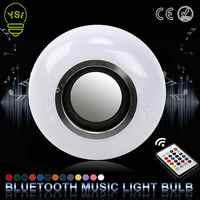 E27 Altavoz Bluetooth inalámbrico inteligente música LED RGB de la música del bulbo de Dimmable 12 W bombilla LED Lampada para vacaciones luz