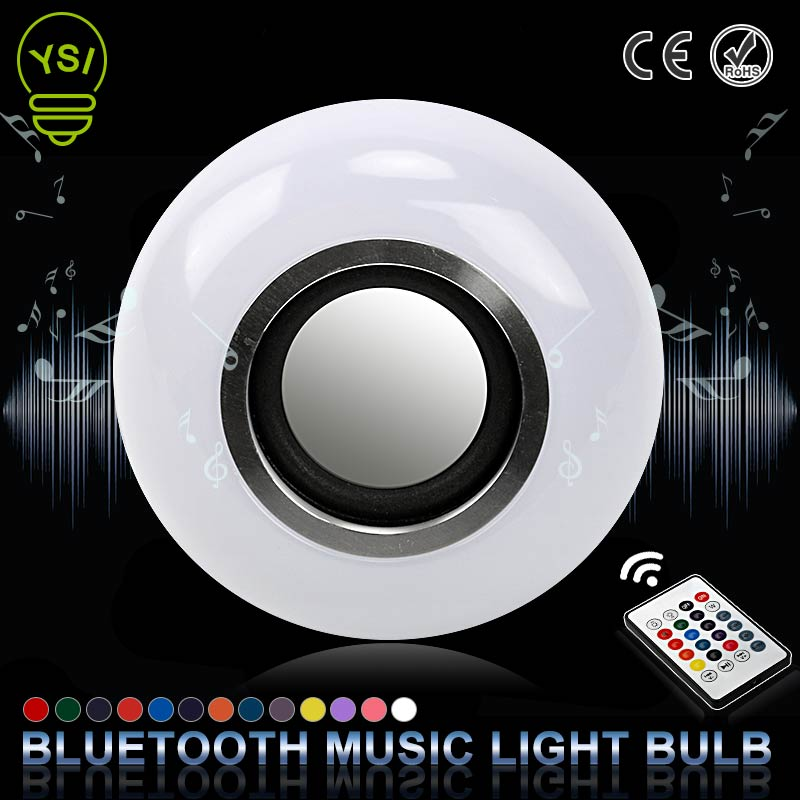 E27 Smart Wireless Bluetooth Speaker Music Playing LED RGB Music Bulb Colorful Dimmable 12W LED Bulb Lampada For Holiday Light