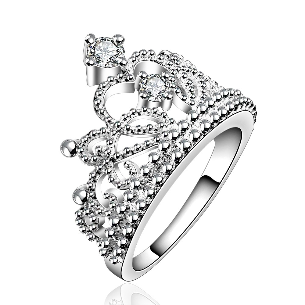 Female Crown Ring Aaa Zircon Cz 925 Sterling Silver Engagement Wedding Band  Ring For Women(