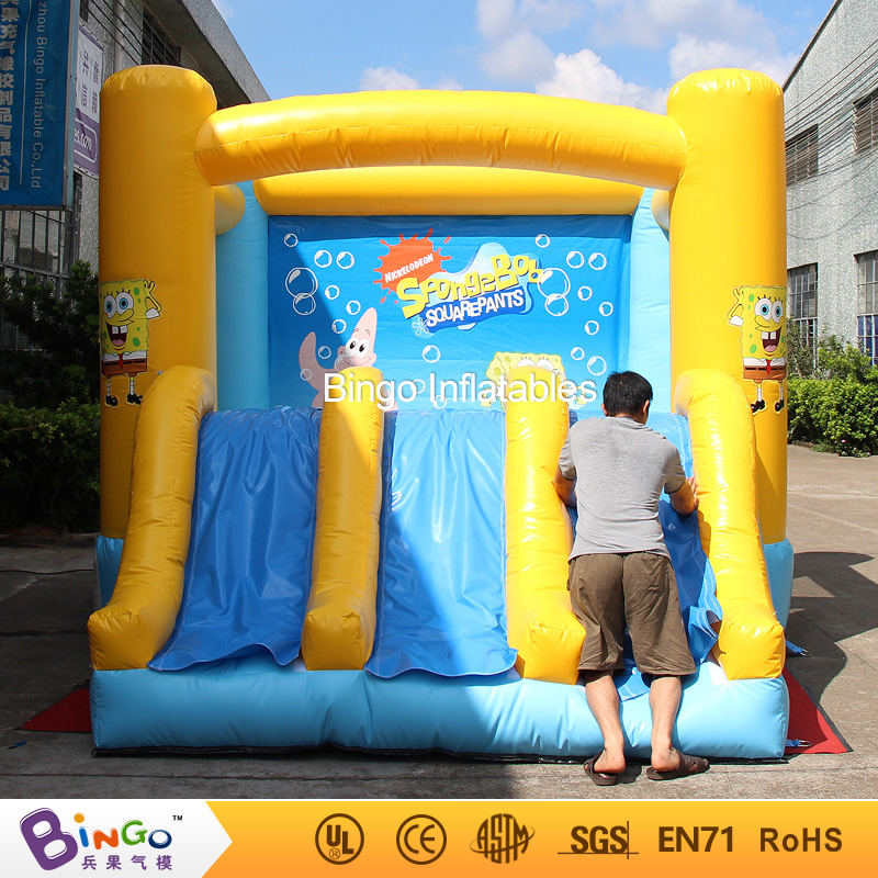 Free delivery Cartoon design spongebob jumper inflatable bounce house high quality interactive recreation games for children interesting haunted house props for children playing inflatable games