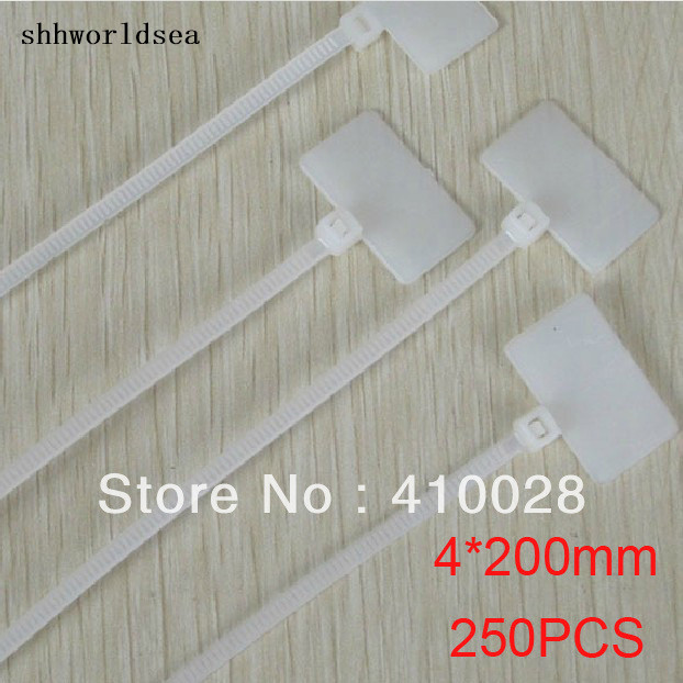 shhworldsea 250PCS car clip cable 200mm X4mm 4*200mm White Cable Wire Zip Ties Self Locking Nylon Mark Cable Tie