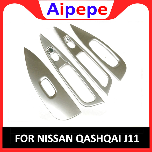 For Nissan Qashqai 2014 2015 2016 2017 Car Styling Free Shipping ABS Chrome Armrest Door Window Switch Panel Cover Trim 4PCS/SET