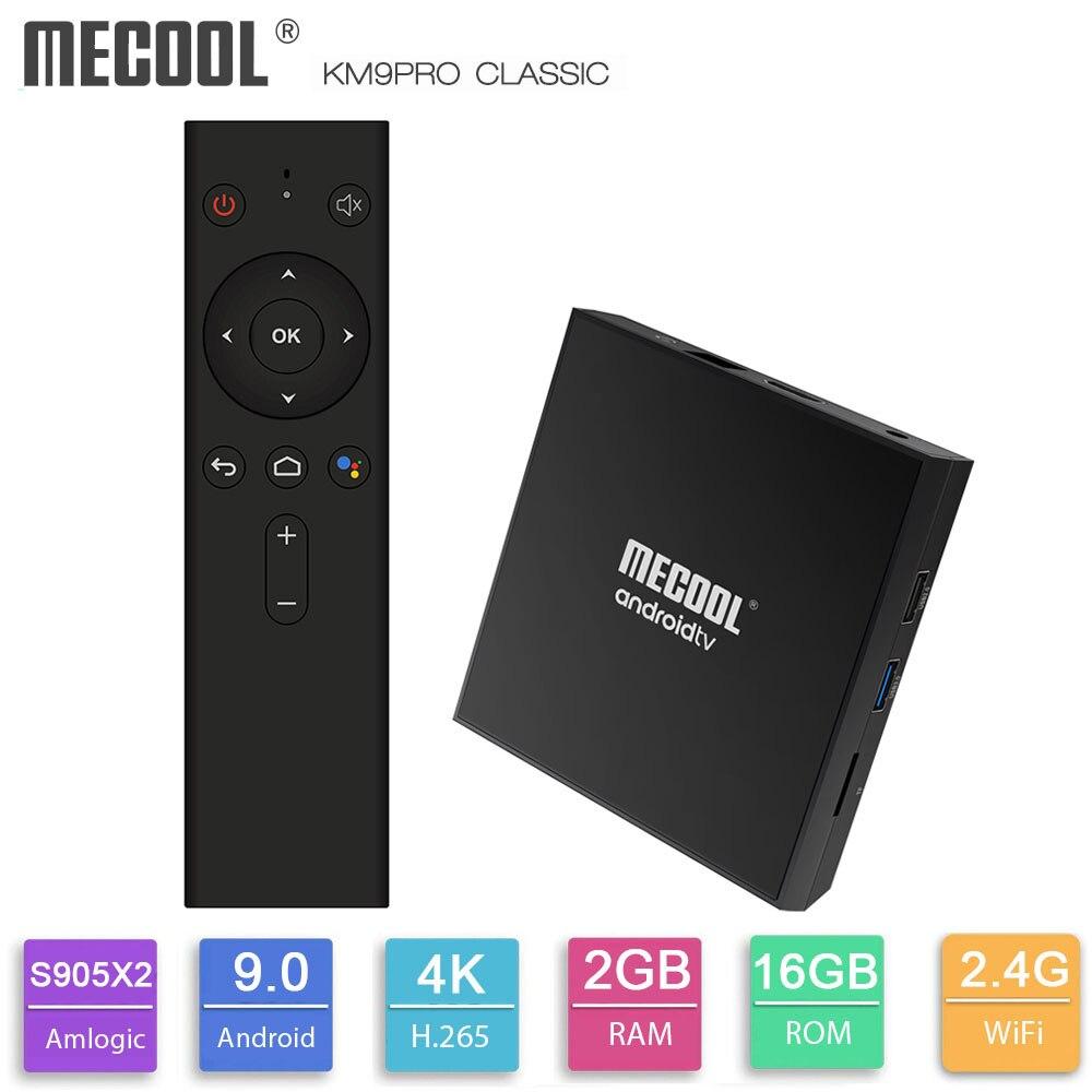 MECOOL KM9 Pro Clássico Caixa de Caixa de TV Android Google TV com Certificação 2GB de RAM GB ROM Amlogic 16 S905X2 4K 2.4G Wifi BT4.0 Set Top Box